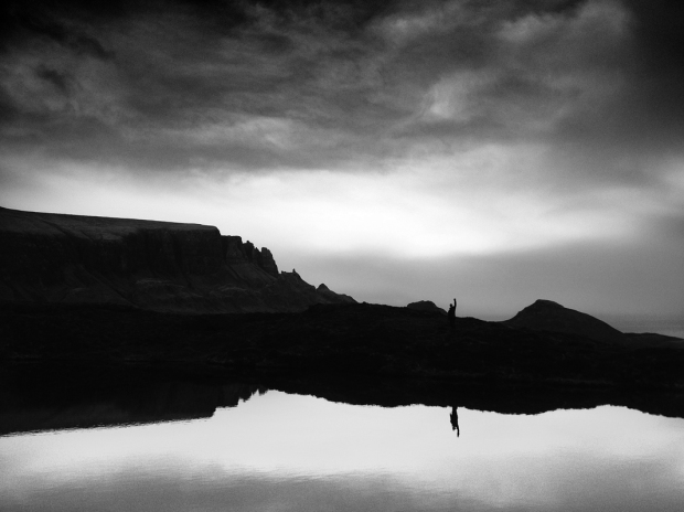 Quiraing reflecting in a loch, Isle of Skye, Trotternish Ridge